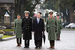 The Interfaith Service and Unveiling of Necrology Wall, Glasnevin Cemetery, Sunday 3 April 2016.<br /> Taoiseach Enda Kenny arrives for the opening of the Necrology Wall at Glasnevin cemetery.