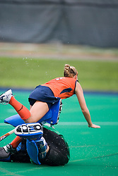 Virginia Cavaliers F Kaitlyn Hiltz (7) collides with Penn State GK Jen Beaumont (90) in the first half.  The #10 ranked Virginia Cavaliers fell to the #7 ranked Penn State Nittany Lions 3-1 at the University Hall Turf Field in Charlottesville, VA on August 26, 2007.