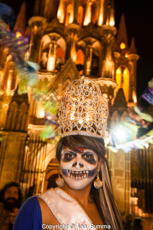 The Gay (Beauty) Queen. On Nov. 1 tourists and locals dressed as Catrinas (guide to the other side) parade through San Miguel Allende, Mexico, to welcome the start of Dia de Los Muertos on Nov. 2. (Photo: Ann Summa).