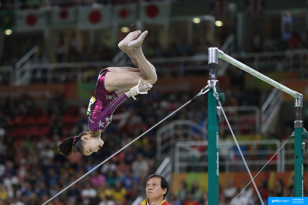 Gymnastics - Olympics: Day 4  Chunsong Shang of China performing her routine on the Horizontal bar during the Artistic Gymnastics Women's Team Final at the Rio Olympic Arena on August 9, 2016 in Rio de Janeiro, Brazil. (Photo by Tim Clayton/Corbis via Getty Images)