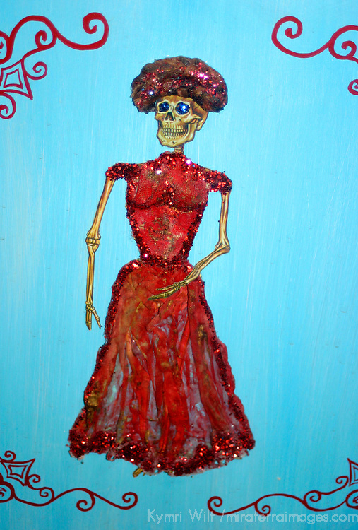 Americas, Mexico, Guanajuato. La Catrina, a skeletal woman symbolic of death, is found all over Mexico in arts and crafts.