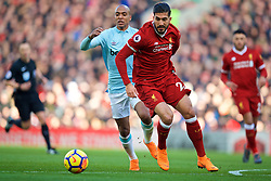 LIVERPOOL, ENGLAND - Saturday, February 24, 2018: Liverpool's Emre Can during the FA Premier League match between Liverpool FC and West Ham United FC at Anfield. (Pic by David Rawcliffe/Propaganda)