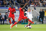 Depay Memphis of Lyon and Costa Santos Dante of Nice during the French championship L1 football match between Olympique Lyonnais and Amiens on August 12th, 2018 at Groupama stadium in Decines Charpieu near Lyon, France - Photo Romain Biard / Isports / ProSportsImages / DPPI