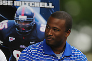 Former Ole Miss player Jesse Mitchell speaks during Grove Bowl pre-game activities in the Grove at the University of Mississippi in Oxford, Miss. on Saturday, April 17, 2010.