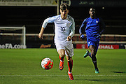 England U18 midfielder Mason Mount (10) with an early attack during the U18 International match between England and France at London Road (ABAX Stadium), Peterborough, England on 14 November 2016. Photo by Nigel Cole.