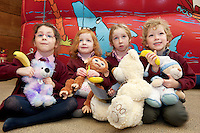 23/01/2014 Eadaoin Ni Chonghailewith Stawberry, Eabha Ni Dhubhda, (Cuddles), Eabha Nic Chraithand Seamus O Maille with Goodnight Bear from Scoil Iognaid  at Teddy Bear Hospital at NUI, Galway where Medical Students got used to dealing with Children and Kids get used to the Hospital procedures. Photo:Andrew Downes