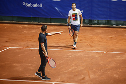 April 23, 2018 - Barcelona, Spain - BARCELONA, SPAIN - APRIL 23: Grigor Dimirov from Bulgaria training with his coach Dani Vallverdu during the Barcelona Open Banc Sabadell 66 Trofeo Conde de Godo at Reial Club Tenis Barcelona on 23 of April of 2018 in Barcelona. (Credit Image: © Xavier Bonilla/NurPhoto via ZUMA Press)