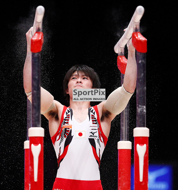2015 Artistic Gymnastics World Championships being held in Glasgow from 23rd October to 1st November 2015....Japan's Kohei Uchimura performs in the Parallel Bars competition in the Men's Team Final...(c) STEPHEN LAWSON | SportPix.org.uk