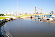 Israel, Haifa Bay Area, Sewerage treatment facility. The treated water is then used for irrigation and to increase the flow n the Kishon river .Secondary sedimentation pools the sludge is removed to the sludge treatment