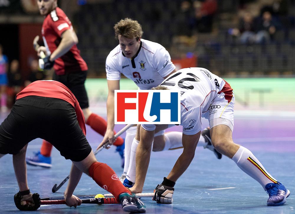 BERLIN - Indoor Hockey World Cup<br /> Men: Switzerland - Belgium<br /> foto: Tom Boon.<br /> WORLDSPORTPICS COPYRIGHT FRANK UIJLENBROEK