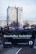 Magdeburg | 18 Jan 2014<br /> <br /> ACHTUNG BESONDERE HONORARKONDITIONEN!<br /> <br /> Am Samstag (19.01.2014) marschierten etwa 1000 Neonazis bei einem &quot;Gedenkmarsch&quot; durch Magdeburg, um der Bombardierungen der Stadt im 2. Weltkrieg zu &quot;gedenken&quot;.<br /> Hier: Neonazis vor Plattenbau.<br /> <br /> &copy;peter-juelich.com<br /> <br /> [No Model Release | No Property Release]