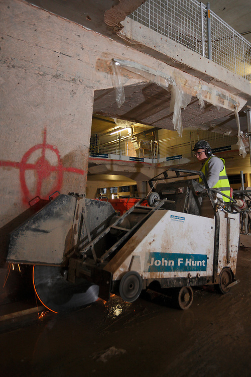 Concrete cutting division. Centre Point. John F Hunt Demolition Site. London January 2016.<br /> <br />  (Photo - Zute Lightfoot)