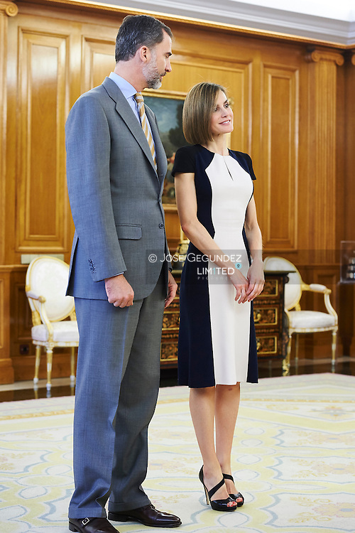 King Felipe VI of Spain and Queen Letizia of Spain attended an audience to the Board of the Spanish Committee of United World Colleges, sponsors scholarships and scholarship students at Palacio de la Zarzuela on May 18, 2015 in Madrid