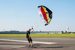 Land surfing at former Tempelhof Airport , now public park in Berlin Germany
