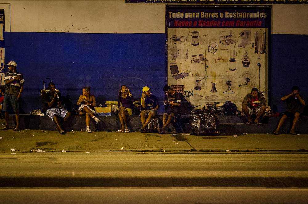 A group of crack dependents in Crackland, near Manguinhos shantytown, Rio de Janeiro.