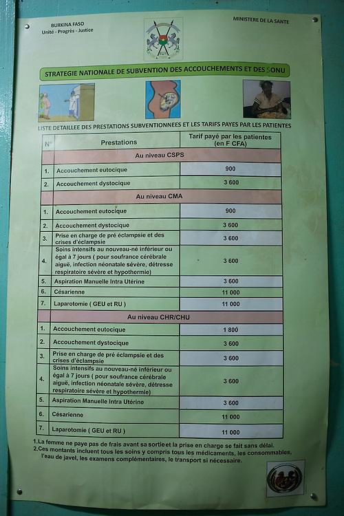 Price list general ward, Maternity ward, Yalgado Hospital, Ouagadougou, Burkina Faso.