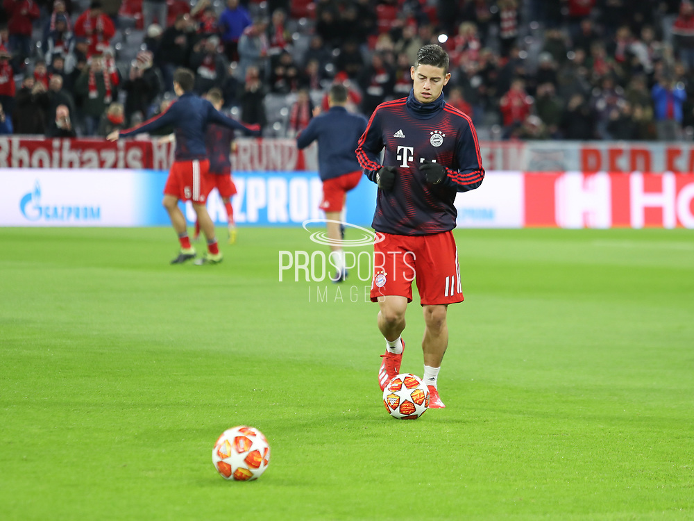 James Rodriguez of Bayern Munich warms up during the Champions League round of 16, leg 2 of 2 match between Bayern Munich and Liverpool at the Allianz Arena stadium, Munich, Germany on 13 March 2019.