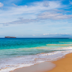 Maui Hawaii Makena Big Beach panorama photo. Big Beach is in Wailea-Makena Hawaii and is one of Maui's most popular beaches. Panoramic photo ratio is 1:3. Copyright ⓒ 2019 Paul Velgos with All Rights Reserved.