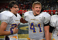 26 Nov. 2010 -- ST. LOUIS -- Mound City High School football players Jake Reilly (25) and James Schoonover (41) celebrate after the Panthers topped St. Joseph Christian School during the MSHSAA 8-man football championship game at the Edward Jones Dome Friday, Nov. 26, 2010. Image © copyright 2010 Sid Hastings.