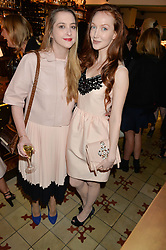 Left to right, DAISY DE VILLENEUVE and  actress OLIVIA GRANT at a dinner hosted by Kate Spade NY to celebrate Chelsea in Bloom held at Daphne's, 112 Draycott Avenue, London on 20th May 2015.