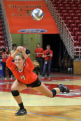17 October 2015:  Ashley Rosch(15) sweeps and dives to her right to keep the ball in play during an NCAA women's volleyball match between the Southern Illinois Salukis and the Illinois State Redbirds at Redbird Arena in Normal IL (Photo by Alan Look)