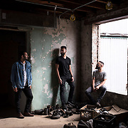 June 28, 2016 - New York, NY : From left, Rami Haykal, Dhruv Chopra, and Jake Rosenthal who co-owned the Williamsburg performance space 'Glasslands Gallery,' until it closed in 2014, pose for a portrait inside the still-under-construction 599 Johnson Ave. on Tuesday afternoon. The trio are planning to open their new venue 'Elsewhere' at 599 Johnson Ave. in Bushwick, Brooklyn. CREDIT: Karsten Moran for The New York Times