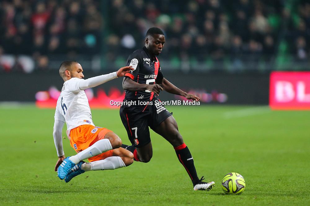 Paul Georges NTEP / Joris MARVEAUX  - 06.12.2014 - Rennes / Montpellier - 17eme journee de Ligue 1 -<br />Photo : Vincent Michel / Icon Sport