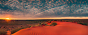 Sunrise from sand dune, panorama, Old Andado Station, Simpson desert, Northern Territory, Central Australia