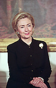 First lady Hillary Clinton smiles during an event at the White House January 11, 1999 in Washington, DC.