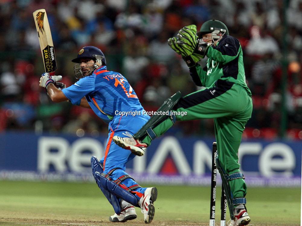 Indian batsman Yuvraj Singh plays a Shot against Ireland during the ICC Cricket World Cup - 22nd Match, Group B, India vs Ireland Played at M Chinnaswamy Stadium, Bangalore, 6 March 2011 - day/night (50-over match)