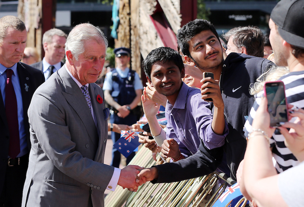 Prince Charles, Prince of Wales greets fans during a walk around Aotea Square, Auckland, New Zealand, Sunday, November 08, 2015. Credit:SNPA /  Michael Bradley, AFP  *POOL**