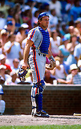 CHICAGO - 1986:  Gary Carter of the New York Mets catches against the Chicago Cubs during an MLB game at Wrigley Field in Chicago, Illinois.  Carter played for the Mets from 1985-1989.  (Photo by Ron Vesely)