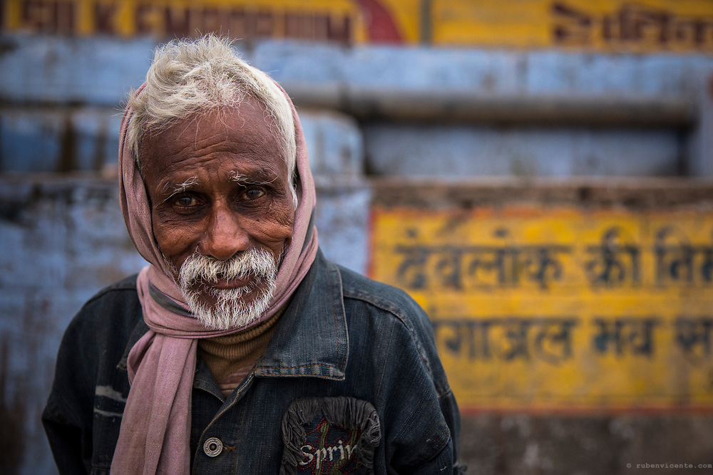 Portrait of an old man in Varanasi. India