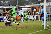 Forest Green Rovers Christian Doidge(9) shoots at goal makes a save but given offside during the Vanarama National League match between Bromley FC and Forest Green Rovers at Hayes Lane, Bromley, United Kingdom on 7 January 2017. Photo by Shane Healey.
