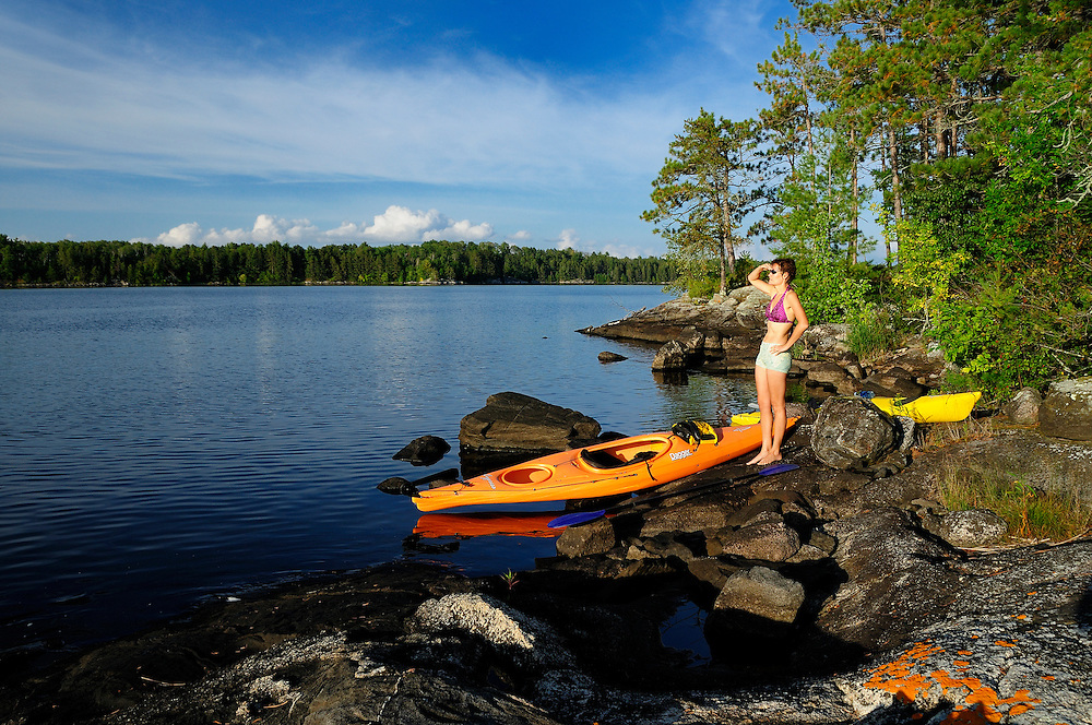 Kayaking in the Lakes at Ash River Area, Voyageur National Park, Minnesota, USA