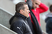 Forest Green Rovers manager, Mark Cooper watches on during the warm up during the EFL Sky Bet League 2 match between Morecambe and Forest Green Rovers at the Globe Arena, Morecambe, England on 17 February 2018. Picture by Shane Healey.