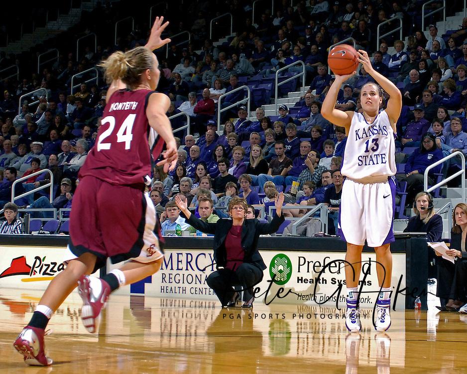 Kansas State guard Kimberly Dietz (13) hits a three pointer over Santa Clara's Kasey Monteith (24) in the second half at Bramlage Coliseum in Manhattan, Kansas, December 15, 2006.  K-State defeated Santa Clara 76-52.<br />