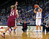 Kansas State guard Kimberly Dietz (13) hits a three pointer over Santa Clara's Kasey Monteith (24) in the second half at Bramlage Coliseum in Manhattan, Kansas, December 15, 2006.  K-State defeated Santa Clara 76-52.<br />