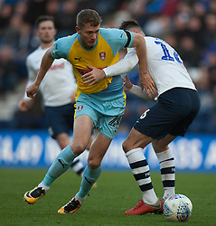Michael Smith of Rotherham United (L) and Andrew Hughes of Preston North End in action - Mandatory by-line: Jack Phillips/JMP - 27/10/2018 - FOOTBALL - Deepdale - Preston, England - Preston North End v Rotherham United - English League Championship