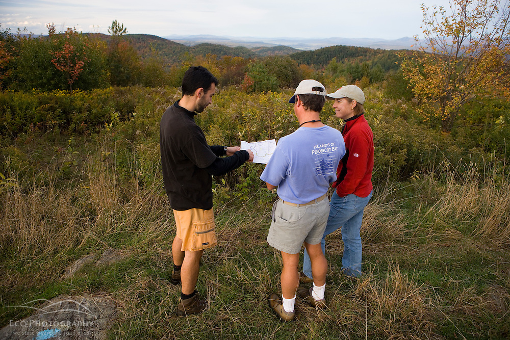 Checking the map on the Cross-Rivendell Trail in West Fairlee, Vermont.  Bald Top Mountain.