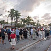 FEBRUARY 10, 2018---MIAMI, FLORIDA<br /> A Ra-Ra band marches down a Little Haiti street as part of Miami based artist Antoni Miralda's event, The Maggic Banquet, a multifaceted participatory project centered on food  at EXILE Books in Little Haiti.<br /> (PHOTO BY ANGEL VALENTIN for MDC