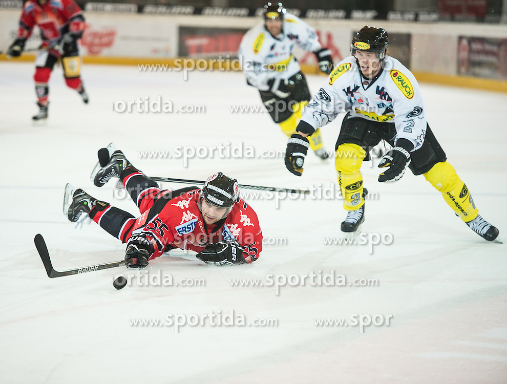 09.09.2012, Tiroler Wasserkraft Arena, Innsbruck, AUT, EBEL, HC TWK Innsbruck vs EC Dornbirn, 02. Runde, im Bild Francis Lemieux, (HC TWK Innsbruck, # 55) und Oliver Magnan-Grenier, (EC Dornbirn, #02) // during the Erste Bank Icehockey League 2nd Round match between HC TWK Innsbruck and EC Dornbirn at the Tiroler Wasserkraft Arena, Innsbruck, Austria on 2012/09/09. EXPA Pictures © 2012, PhotoCredit: EXPA/ Eric Fahrner