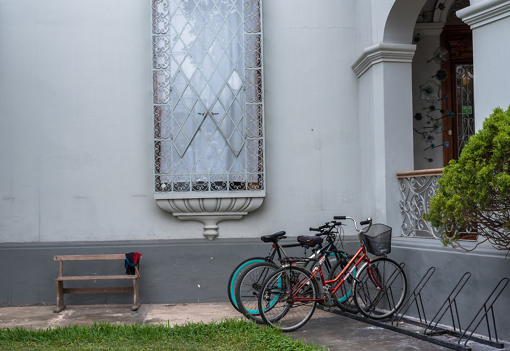 Lima, Peru -- April 13, 2018. Bicycles are parked outside a Museum in the upscale Barranco District of Lima, Peru. Editorial use only.