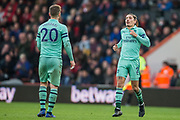 Hector Bellerin (Arsenal) in conversation with Shkodran Mustafi (Arsenal) during the Premier League match between Bournemouth and Arsenal at the Vitality Stadium, Bournemouth, England on 25 November 2018.