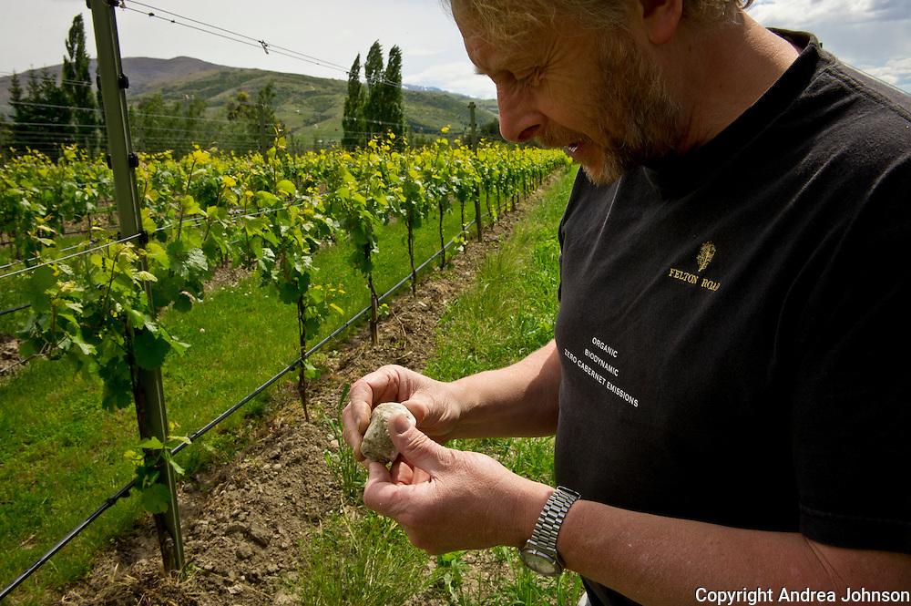 Nigel Greening, proprietor, walking estate vineayards, Felton Road, Central Otago, New Zealand.