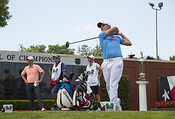 May 26, 2018 - Fort Worth, TX, USA - FORT WORTH, TX - MAY 26, 2018 - Emiliano Grillo tees off on the first hole to start the third round of the 2018 Fort Worth Invitational PGA at Colonial Country Club in Fort Worth, Texas (Credit Image: © Erich Schlegel via ZUMA Wire)