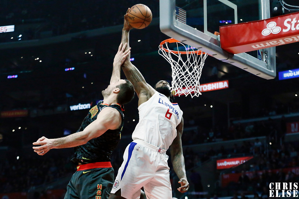 08 January 2018: LA Clippers center DeAndre Jordan (6) dunks the ball over Atlanta Hawks center Miles Plumlee (18) during the LA Clippers 108-107 victory over the Atlanta Hawks, at the Staples Center, Los Angeles, California, USA.