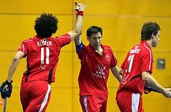 LEIZPIG - WC HOCKEY INDOOR 2015<br /> SUI v POL (7th / 8th Place)<br /> KLOTER Yanik scored a goal<br /> FFU PRESS AGENCY COPYRIGHT FRANK UIJLENBROEK