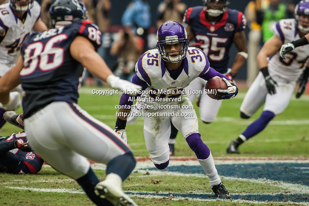 December 23 2012: Minnesota Vikings cornerback Marcus Sherels (35) returns a kick during the second quarter of the NFL football game between the Houston Texans and the Minnesota Vikings at Reliant Stadium in Houston, TX.