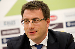 Ales Zavrl, secretary general of NZS  during press conference of Football federation of Slovenia when announcing a new head coach of Slovenian National football Team, on October 24, 2011, in Brdo pri Kranju, Slovenia.  (Photo by Vid Ponikvar / Sportida)